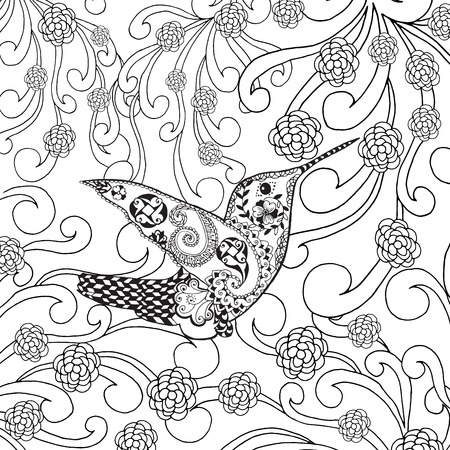 tropical garden: stylized tropical bird in flower garden. Animals. Hand drawn doodle. Ethnic patterned illustration. African, indian, totem tattoo design. Sketch for avatar, tattoo, poster, print or t-shirt.