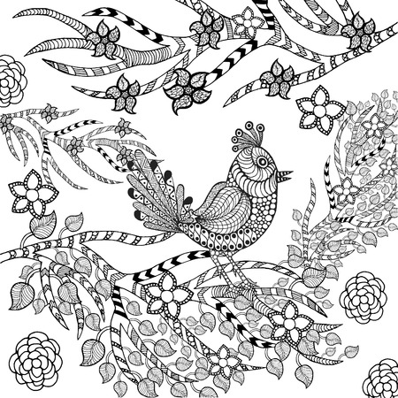 tropical garden: Tropical bird in flower garden. Animals. Hand drawn doodle. Ethnic patterned illustration. African, indian, totem tattoo design. Sketch for avatar, tattoo, poster, print or t-shirt.