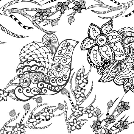 tatouage oiseau: oiseau mignon dans le jardin de fleurs. Animaux. Tiré par la main doodle. Ethnique illustration à motifs. Africaine, indien, conception de tatoo totem. Dessinez pour avatar, tatouage, affiche, impression ou t-shirt.