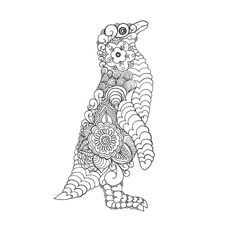 for print: stylized cute penguin. Adult antistress coloring page. Black white hand drawn doodle animal. Ethnic patterned vector. African, indian, totem tribal design. Sketch for tattoo, poster, print, t-shirt