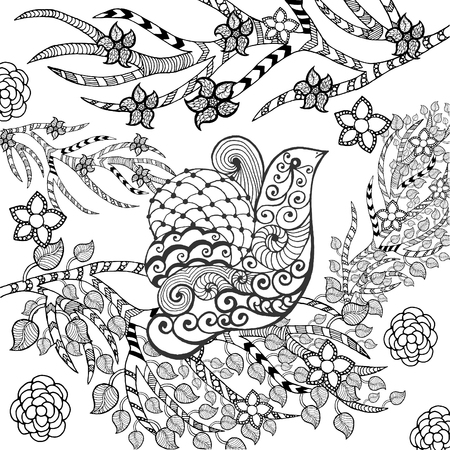 libros volando: Pájaro lindo en jardín de flores. Animales. Dibujado a mano del doodle. Ilustración estampado étnico. África, diseño tatuaje indio, tótem. Boceto para avatar, tatuaje, cartel, imprimir o una camiseta.