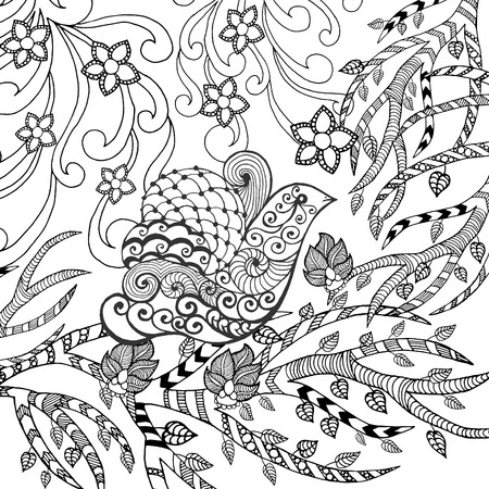 flower sketch: Bird in flower garden. Animals. Hand drawn doodle. Ethnic patterned illustration. African, indian, totem tatoo design. Sketch for avatar, tattoo, poster, print or t-shirt.