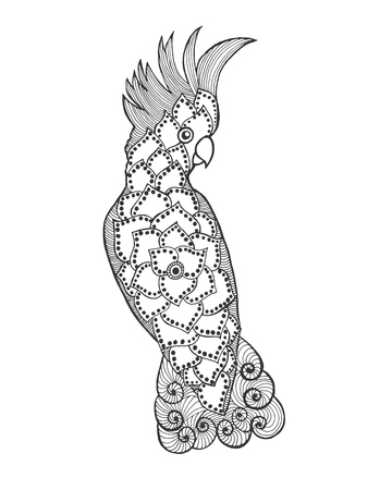 cockatoo: stylized cockatoo. Bird. Black white hand drawn doodle.