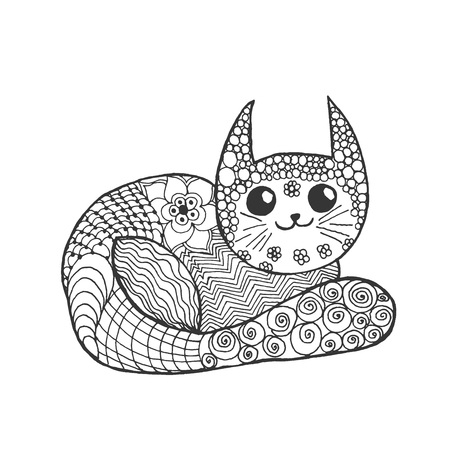 kitten cartoon: Cute kitten. Black white hand drawn doodle animal. Ethnic patterned illustration.
