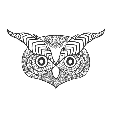 anti stress: Eagle owl head. Adult anti stress coloring page. Black white hand drawn doodle animal. Ethnic patterned .