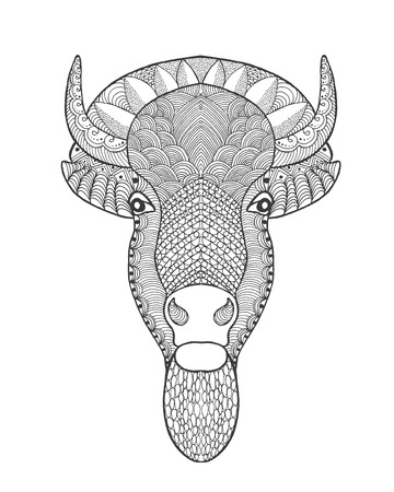 indian buffalo: stylized bull head. Animals. Hand drawn doodle. Ethnic patterned vector illustration. African, indian, totem, tatoo design. Sketch for avatar, tattoo, posters, prints or t-shirt.