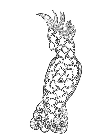 stilisierte Kakadu. Vogel. Schwarz-weiße Hand gezeichnet Doodle. Ethnische gemusterten Vektor-Illustration. Afrikanisch, indisch, totem, Stammes-Design. Skizze für Tätowierung, Plakat, Druck oder T-Shirt.