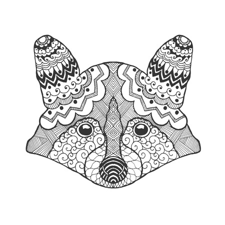 doodle art clipart: Cute raccoon head. Black white hand drawn doodle animal. Ethnic patterned vector illustration. African, indian, totem, tribal design. Sketch for coloring page, tattoo, poster, print, t-shirt