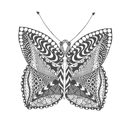 animal print: mariposa estilizada. Negro mano blanca dibujada animales del doodle. ilustración vectorial estampado étnico. Africano, diseño tribal indio, tótem. Boceto de página para colorear, tatuajes de impresión de carteles, camiseta Vectores