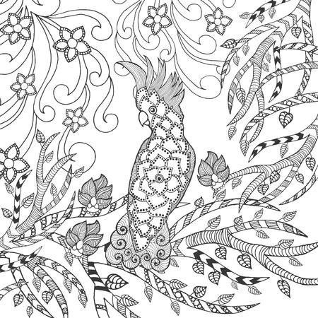 tatouage fleur: Mignon Coloriage cacato�s. Animaux. Tir� par la main doodle. Ethnique illustration � motifs. Africaine, indien, conception de tatoo totem. Dessinez pour avatar, tatouage, affiche, impression ou t-shirt.
