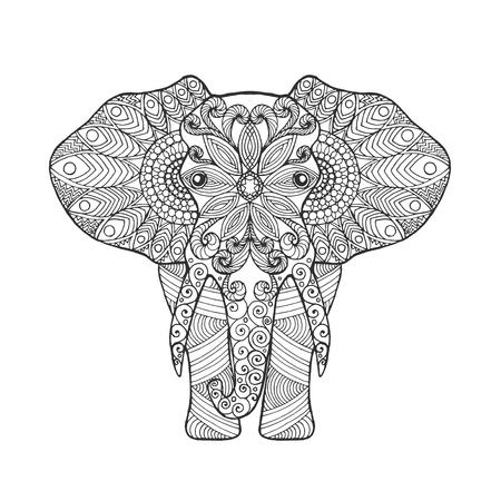 african animals: Elephant. Adult antistress coloring page. Black white hand drawn doodle animal. Ethnic patterned vector. African, indian, totem tribal design. Sketch for tattoo, poster, print, t-shirt