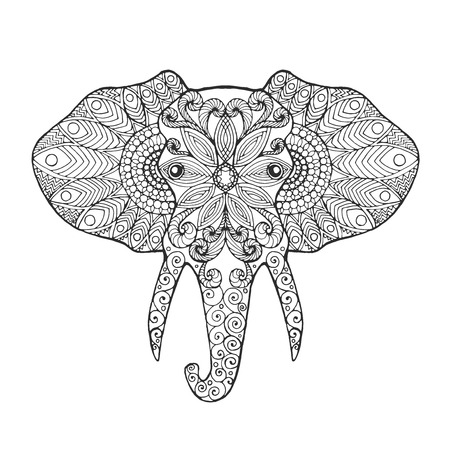 siluetas de elefantes: cabeza de elefante. Colorear antiestrés adulto. Negro mano blanca dibujada animales del doodle. vector de modelado étnica. Africano, diseño tribal indio, tótem. Boceto para el tatuaje de impresión de carteles, camiseta