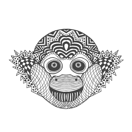totem indien: Singe mignon. main blanche noire dessin�e animale doodle. Ethnique motifs illustration vectorielle. Africaine, indien, totem, conception tribale. Dessinez pour coloriage, tatouage, affiche, impression, t-shirt Illustration
