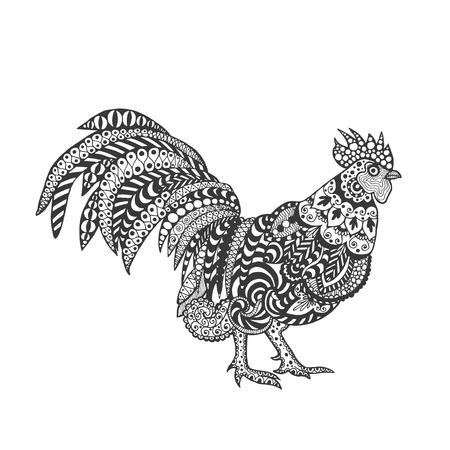 gallo: Gallo. Aves. Negro blanco dibujado mano del doodle. ilustraci�n vectorial estampado �tnico. Africano, indio, t�tem, tribal, dise�o. Bosquejo para la p�gina de adultos antiestr�s colorear, tatuajes de impresi�n de carteles, camiseta