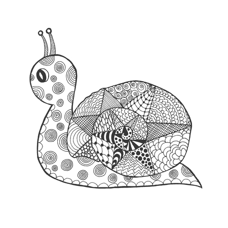 clam gardens: stylized snail. Sketch for avatar, posters, prints or t-shirt. Ethnic patterned illustration. African, indian, totem, tatoo design. Animals. Hand drawn doodle.