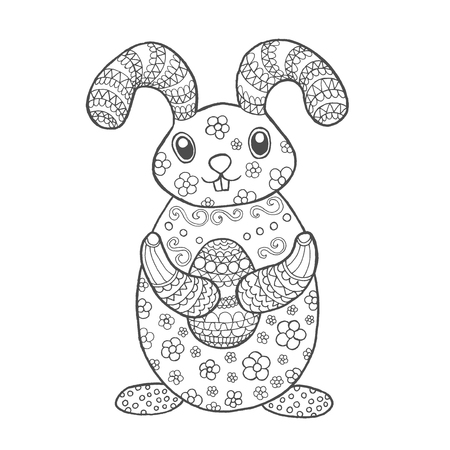 cute easter bunny. Black whitedoodle animal. Ethnic patterned  illustration. African, indian, totem, tribal, design. Sketch for coloring page, tattoo, poster, print, t-shirt  イラスト・ベクター素材