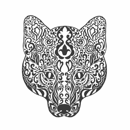 Fox head. Adult antistress coloring page. Black white doodle animal. Ethnic patterned . African, indian, totem tribal, design. Sketch for tattoo, poster, print, t-shirt Illustration