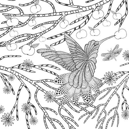 jardines con flores: p�jaro tropical estilizada. Animales. garabatear. ilustraci�n patr�n �tnico. Africano,, dise�o tatoo t�tem indio. Boceto de avatar, tatuaje, cartel, impresi�n o una camiseta.