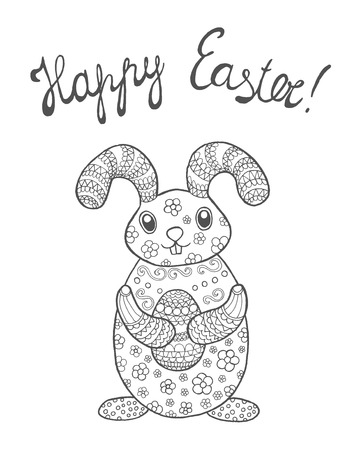 Easter bunny card with Happy Easter sign.   illustration. Illustration