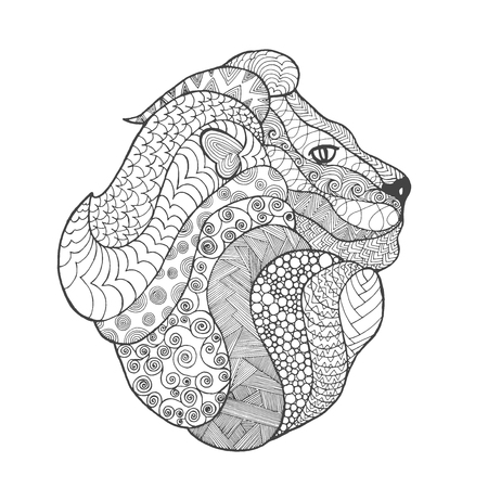 Adult antistress coloring page. Black white  doodle animal. Ethnic patterned . African, indian, totem tribal, design. Sketch for tattoo, poster, print, t-shirt