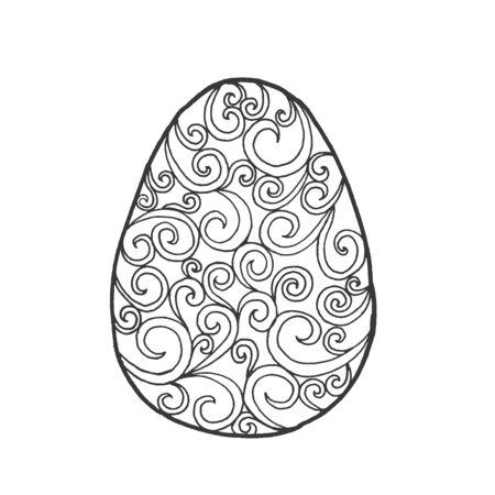huevo blanco: Huevo de Pascua. Ilustración blanco y negro. Boceto de tarjetas, tatuaje, impresión de carteles de la camiseta. Por su diseño y los negocios. Vectores