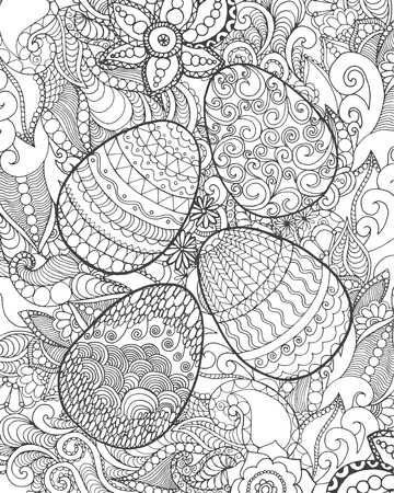 flower illustration: Easter egg. Black white  illustration. Sketch for cards, tattoo, poster, print, t-shirt. For your design and business.