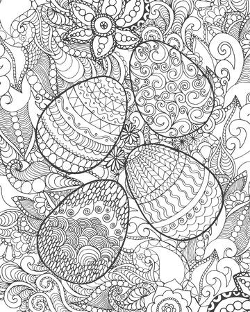 patrones de flores: Huevo de Pascua. Ilustraci�n blanco y negro. Boceto de tarjetas, tatuaje, impresi�n de carteles de la camiseta. Por su dise�o y los negocios. Vectores