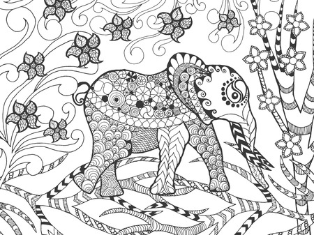 eagle owl: stylized elephant in fantasy garden. Animals. doodle. Ethnic patterned illustration. African, indian, totem tatoo design. Sketch for avatar, tattoo, poster, print or t-shirt.