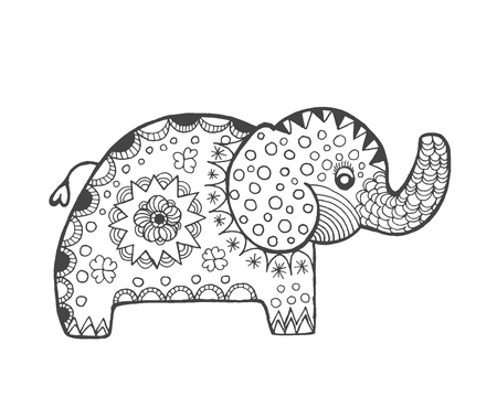 clam gardens: stylized fantasy elephant. Sketch for avatar, posters, prints or t-shirt. Ethnic patterned illustration. African, indian, totem, tatoo design. Animals. Hand drawn doodle.