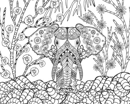stylized elephant in fantasy garden. Animals. doodle. Ethnic patterned illustration. African, indian, totem tatoo design. Sketch for avatar, tattoo, poster, print or t-shirt.