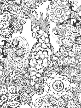 animales silvestres: Cockatoo de flores de fantasía. Animales. Dibujado a mano del doodle. ilustración patrón étnico. Africano,, diseño tatoo tótem indio. Boceto de avatar, tatuaje, cartel, impresión o una camiseta. Vectores