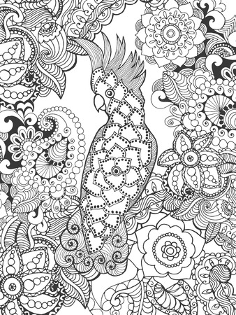 indian feather: Cockatoo in fantasy flowers. Animals. Hand drawn doodle. Ethnic patterned illustration. African, indian, totem tatoo design. Sketch for avatar, tattoo, poster, print or t-shirt.