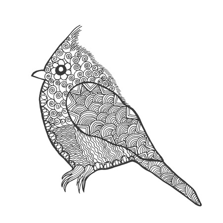 sparrow bird: Zentangle stylized bird. Animals. Black white hand drawn doodle sparrow . Ethnic patterned illustration. African, indian, totem tatoo design. Sketch for avatar, tattoo, poster, print or t-shirt. Illustration