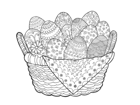 Huevos de Pascua en la cesta. Dibujado a mano elementos decorativos en el vector. Boceto de decoración, avatar, tatuaje de impresión de carteles o una camiseta. Para su diseño y buisness. Ilustración de vector