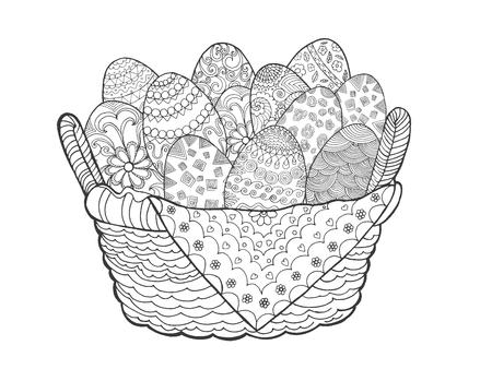 Ostereier im Korb. Hand dekorative Elemente in Vektor gezeichnet. Skizzieren Sie für die Dekoration, avatar, Tätowierung, Plakat, Druck oder T-Shirt. Für Ihr Design und Buisness. Vektorgrafik