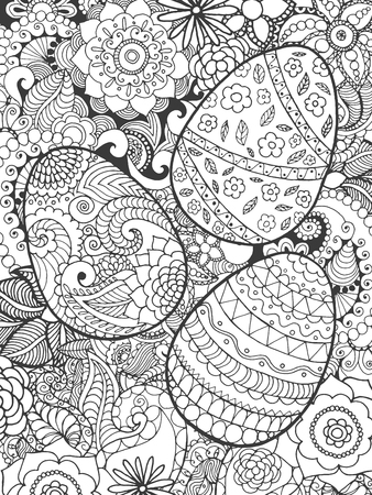 Easter eggs and flowers coloring page. Hand drawn decorative elements in vector. Sketch for decorating, avatar, tattoo, poster, print or t-shirt. For your design and buisness.  イラスト・ベクター素材