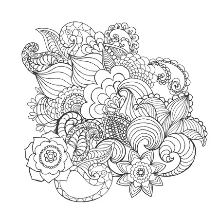 Fantaisie Page fleurs de coloration. Tiré par la main doodle. Floral vecteur motif illustration. Africaine, indien, totem, tribal, conception zentangle. Dessinez pour coloriage, tatouage, affiche, impression, t-shirt