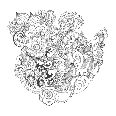 indian tattoo: Fantasy flowers coloring page. Hand drawn doodle. Floral patterned vector illustration. African, indian, totem, tribal, zentangle design. Sketch for colouring page, tattoo, poster, print, t-shirt