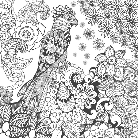 african animals: Cute parrot in fantasy flowers. Animals. Hand drawn doodle. Ethnic patterned illustration. African, indian, totem tatoo design. Sketch for avatar, tattoo, poster, print or t-shirt. Illustration