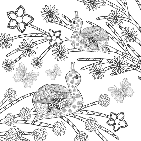 snail: Snails and butterflys in fantasy flower garden. Animals. Hand drawn doodle. Ethnic patterned illustration. African, indian, totem tatoo design. Sketch for avatar, tattoo, poster, print or t-shirt.
