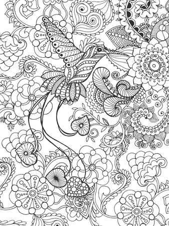 Bird of paradise in fantasy garden. Animals. Hand drawn doodle. Ethnic patterned illustration. African, indian, totem tatoo design. Sketch for avatar, tattoo, poster, print or t-shirt.