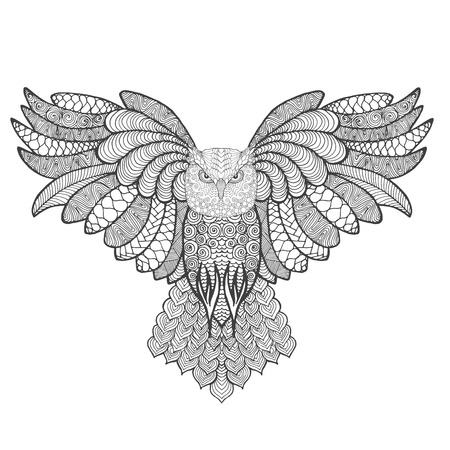totem indien: Eagle owl. Adult antistress coloring page. Black white hand drawn doodle animal. Ethnic patterned vector. African, indian, totem tribal, zentangle design. Sketch for tattoo, poster, print, t-shirt