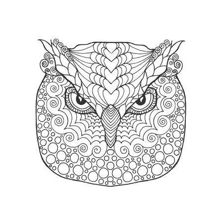 eagle owl: Eagle owl head. Adult antistress coloring page. Black white hand drawn doodle animal. Ethnic patterned vector. African, indian, totem tribal, zentangle design. Sketch for tattoo, poster, print, t-shirt Stock Photo