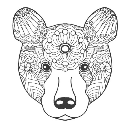 black white hand drawn doodle animal ethnic patterned vector illustration african - Totem Pole Animals Coloring Pages