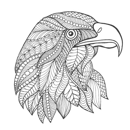 totem: Eagle head. Adult antistress coloring page. Black white hand drawn doodle animal. Ethnic patterned vector. African, indian, totem tribal, zentangle design. Sketch for tattoo, poster, print, t-shirt