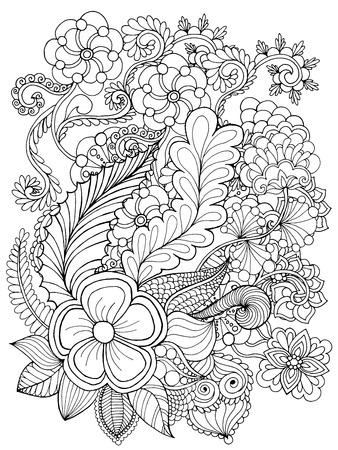 dessin au trait: Fantaisie Page fleurs de coloration. Tiré par la main doodle. Floral vecteur motif illustration. Africaine, indien, totem, tribal, conception zentangle. Dessinez pour coloriage, tatouage, affiche, impression, t-shirt Illustration