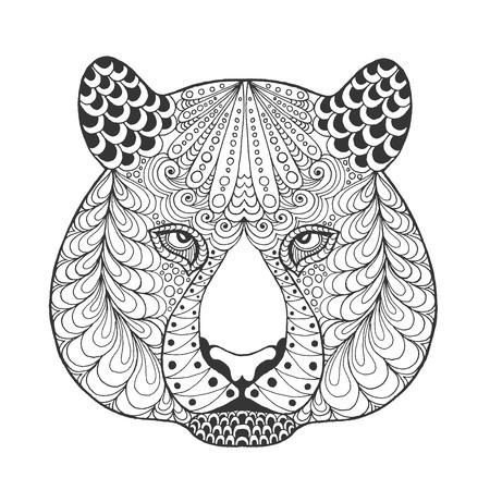 호랑이 머리. 성인 안티 스트레스 색칠 페이지. 검정, 흰색 손 낙서 동물을 그려. 에스닉 패턴 벡터입니다. 아프리카, 인도, 토템 부족, zentangle 디자인.  일러스트