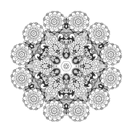 Beautiful floral mandala. Black white hand drawn doodle. Ethnic patterned vector illustration. African, indian, totem tribal design. Sketch for coloring page, tattoo, poster, print, t-shirt