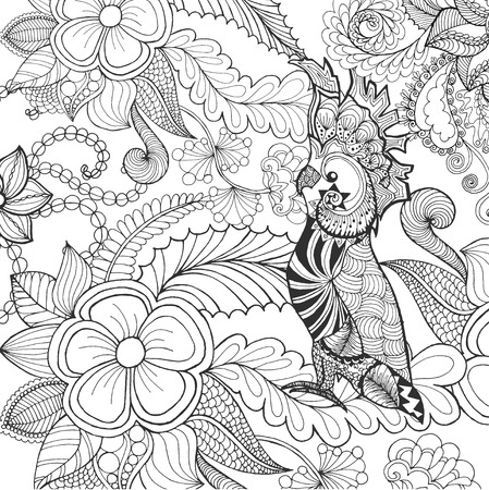 hand print: Cute cockatoo coloring page. Animals. Hand drawn doodle. Ethnic patterned illustration. African, indian, totem tatoo design. Sketch for avatar, tattoo, poster, print or t-shirt.