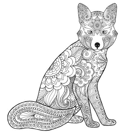 Zorro. Negro mano blanca dibujada animales del doodle. ilustración vectorial estampado étnico. Africano,, tótem, diseño tribal, zentangle indio. Boceto de página para colorear, tatuajes de impresión de carteles, camiseta